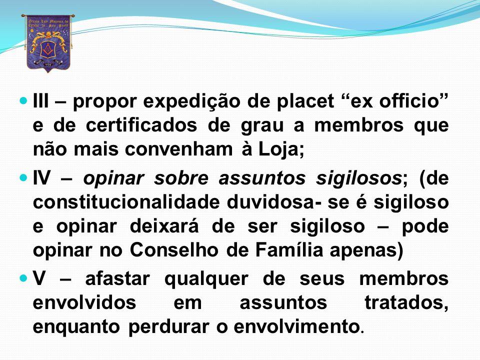 Conselho de Família (Regulamento geral) Art. 173 – A Loja tem um Conselho de Família composto pelo Venerável Mestre, Vigilantes, Orador, Secretário, T