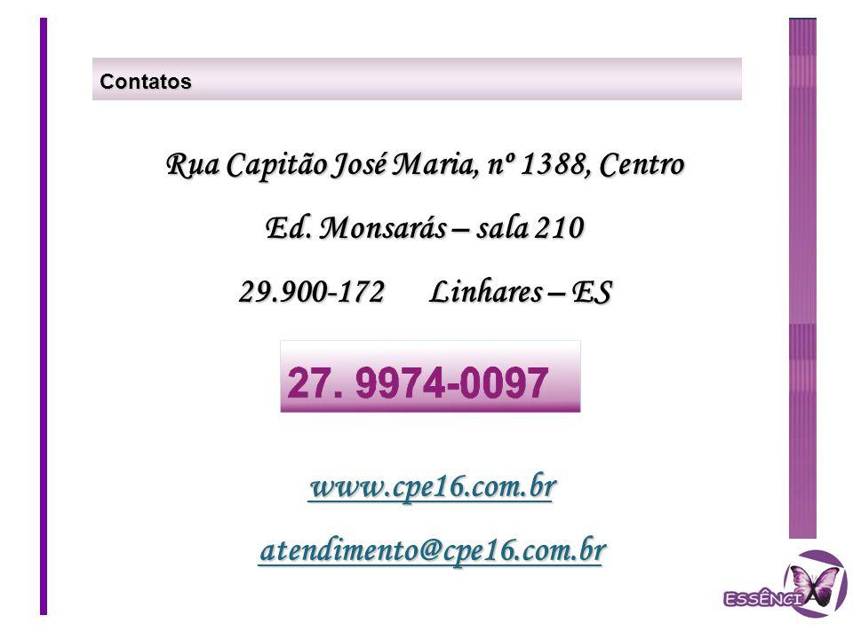 Contatos Rua Capitão José Maria, nº 1388, Centro Ed. Monsarás – sala 210 29.900-172 Linhares – ES www.cpe16.com.bratendimento@cpe16.com.br
