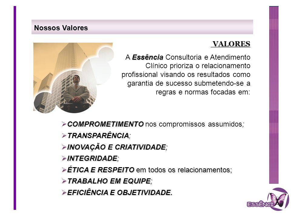 Nossos Valores VALORES VALORES Essência A Essência Consultoria e Atendimento Clínico prioriza o relacionamento profissional visando os resultados como