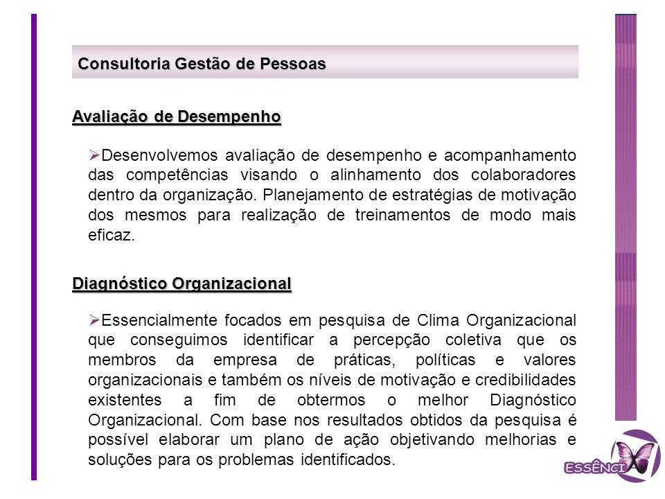 Consultoria Gestão de Pessoas Avaliação de Desempenho Desenvolvemos avaliação de desempenho e acompanhamento das competências visando o alinhamento do
