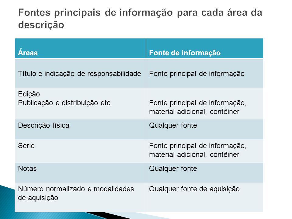 ÁreasFonte de informação Título e indicação de responsabilidadeFonte principal de informação Edição Publicação e distribuição etcFonte principal de in