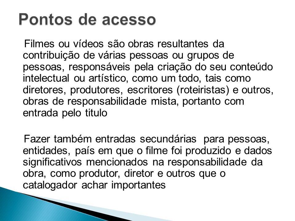 Filmes ou vídeos são obras resultantes da contribuição de várias pessoas ou grupos de pessoas, responsáveis pela criação do seu conteúdo intelectual o