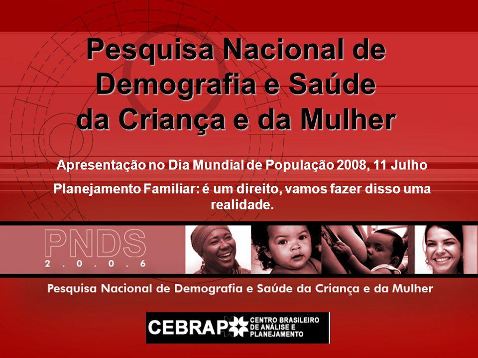 Pesquisa Nacional de Demografia e Saúde da Criança e da Mulher Apresentação no Dia Mundial de População 2008, 11 Julho Planejamento Familiar: é um dir