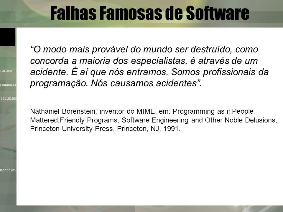 Falhas Famosas de Software O modo mais provável do mundo ser destruído, como concorda a maioria dos especialistas, é através de um acidente. É aí que