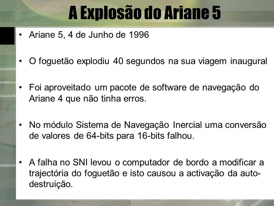 A Explosão do Ariane 5 Ariane 5, 4 de Junho de 1996 O foguetão explodiu 40 segundos na sua viagem inaugural Foi aproveitado um pacote de software de n