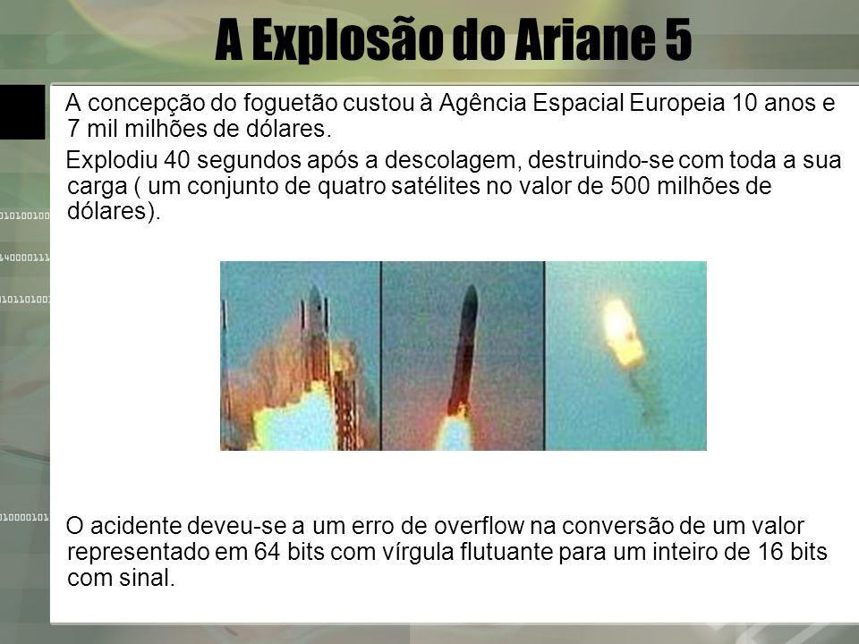 A Explosão do Ariane 5 A concepção do foguetão custou à Agência Espacial Europeia 10 anos e 7 mil milhões de dólares. Explodiu 40 segundos após a desc