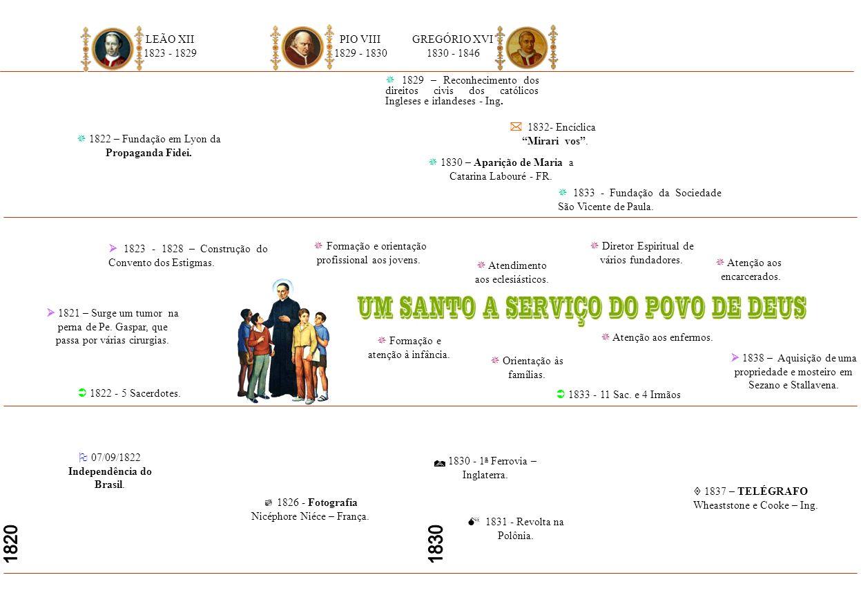 04/11/1816 - Em Verona FUNDAÇÃO DA CONGREGAÇÃO. 1817 – Pe. Gaspar recebe da Santa Sé o Diploma de Missionário Apostólico. 20/09/1800 - Gaspar Bertoni