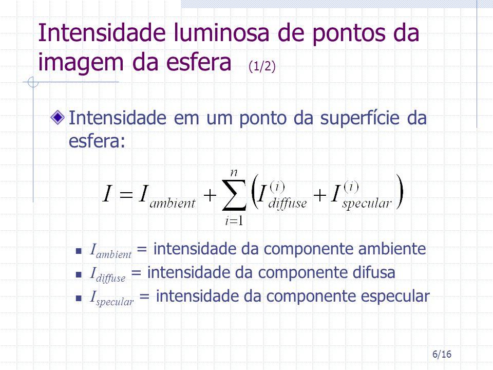 7/16 Intensidade luminosa de pontos da imagem da esfera (2/2) As intensidades das contribuições ambiente e difusa não dependem do ponto de vista Contribuição da luz ambiente não depende da geometria do objeto Contribuição difusa depende da relação entre a posição da fonte de luz e a normal da superfície Modelo Lambertiano Conclusão: A diferença de intensidade entre pontos correspondentes em uma imagem e outra, D(i 1, j 1, i 2, j 2 ), é causada pela variação da contribuição especular