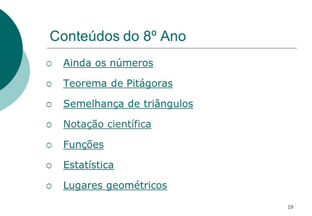 Conteúdos do 8º Ano Ainda os números Teorema de Pitágoras Semelhança de triângulos Notação científica Funções Estatística Lugares geométricos 19