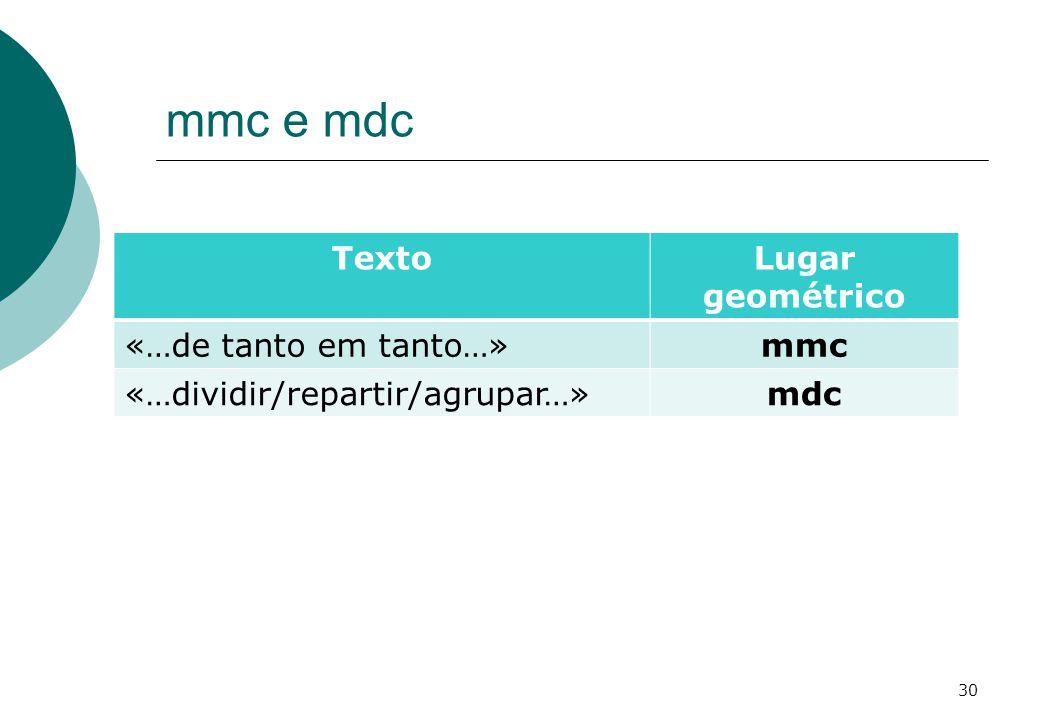 mmc e mdc TextoLugar geométrico «…de tanto em tanto…»mmc «…dividir/repartir/agrupar…»mdc 30
