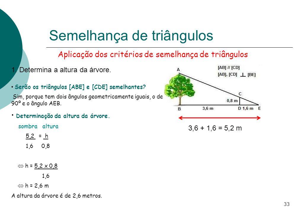 Aplicação dos critérios de semelhança de triângulos Semelhança de triângulos 1.