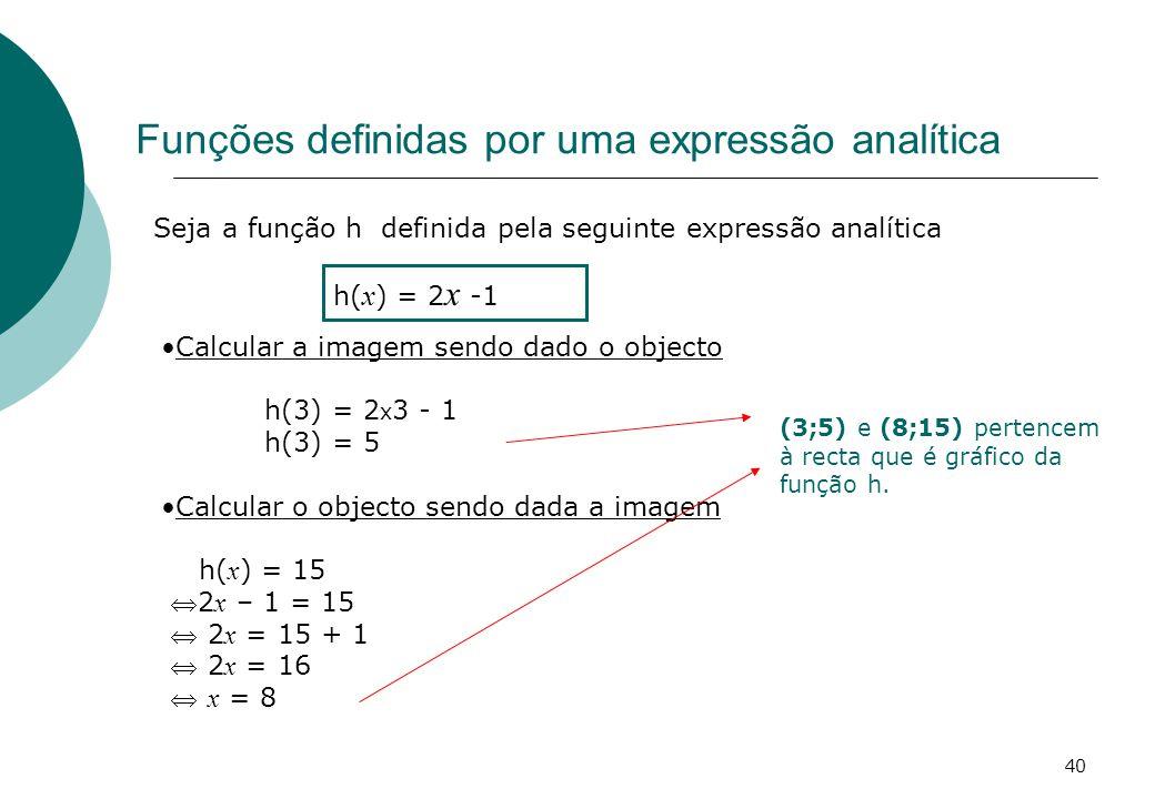 Funções definidas por uma expressão analítica Seja a função h definida pela seguinte expressão analítica h( x ) = 2 x -1 Calcular a imagem sendo dado o objecto h(3) = 2 x 3 - 1 h(3) = 5 Calcular o objecto sendo dada a imagem h( x ) = 15 2 x – 1 = 15 2 x = 15 + 1 2 x = 16 x = 8 (3;5) e (8;15) pertencem à recta que é gráfico da função h.