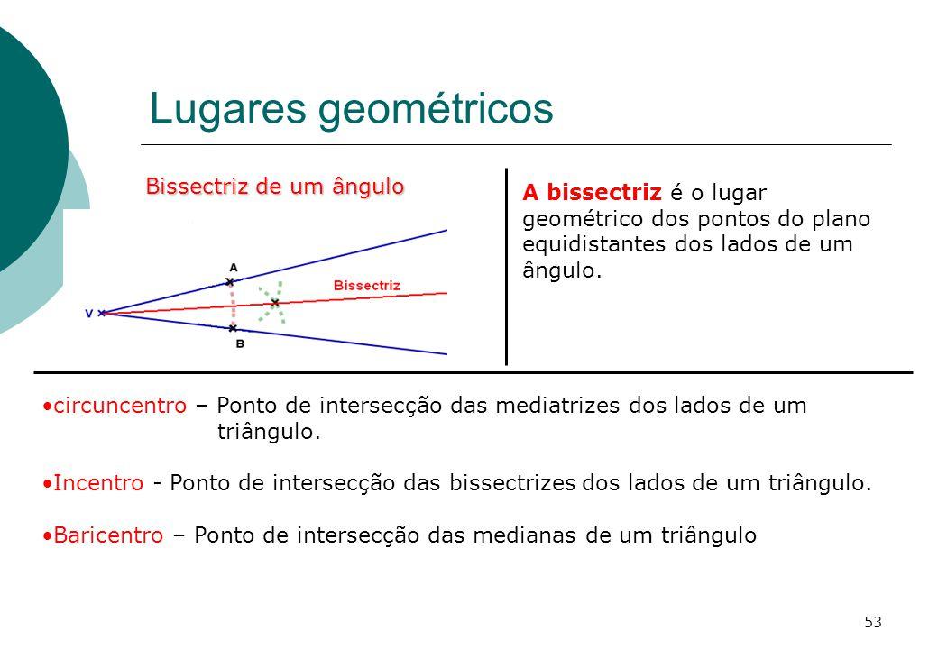 Lugares geométricos Bissectriz de um ângulo A bissectriz é o lugar geométrico dos pontos do plano equidistantes dos lados de um ângulo.