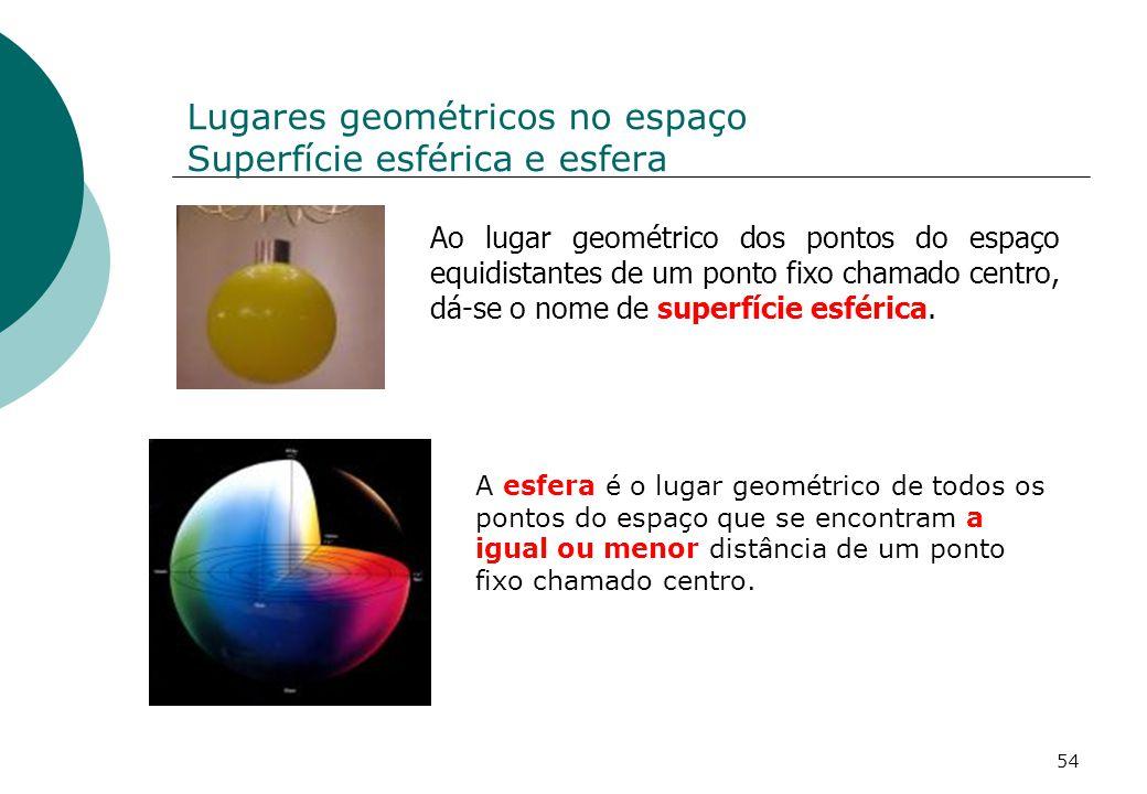 Lugares geométricos no espaço Superfície esférica e esfera Ao lugar geométrico dos pontos do espaço equidistantes de um ponto fixo chamado centro, dá-se o nome de superfície esférica.