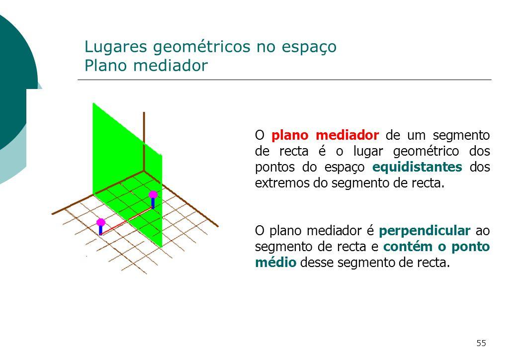 Lugares geométricos no espaço Plano mediador O plano mediador de um segmento de recta é o lugar geométrico dos pontos do espaço equidistantes dos extremos do segmento de recta.