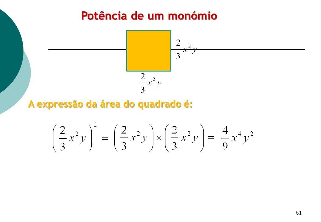 A expressão da área do quadrado é: Potência de um monómio 61