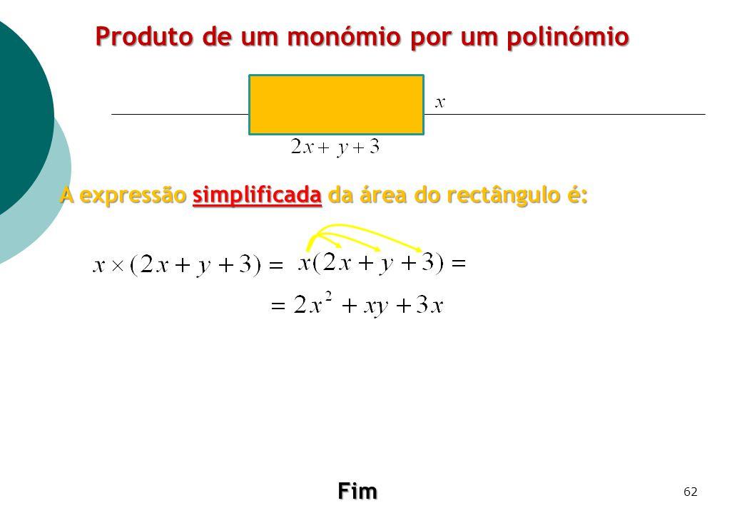 Produto de um monómio por um polinómio A expressão simplificada da área do rectângulo é: Fim 62