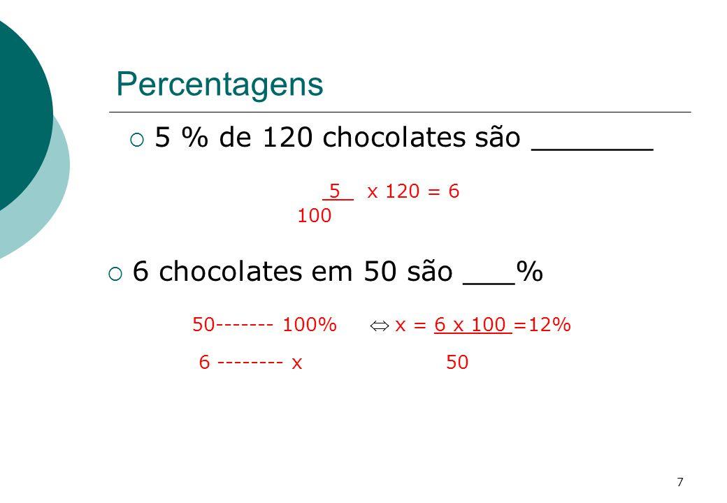Percentagens 5 % de 120 chocolates são _______ 5 x 120 = 6 100 6 chocolates em 50 são ___% 50------- 100% x = 6 x 100 =12% 6 -------- x 50 7