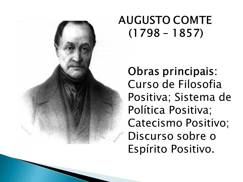 AUGUSTO COMTE (1798 – 1857) Obras principais: Curso de Filosofia Positiva; Sistema de Política Positiva; Catecismo Positivo; Discurso sobre o Espírito