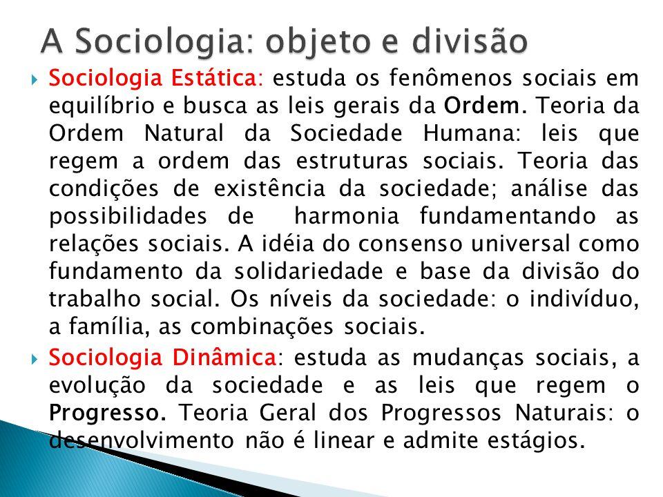 Sociologia Estática: estuda os fenômenos sociais em equilíbrio e busca as leis gerais da Ordem. Teoria da Ordem Natural da Sociedade Humana: leis que