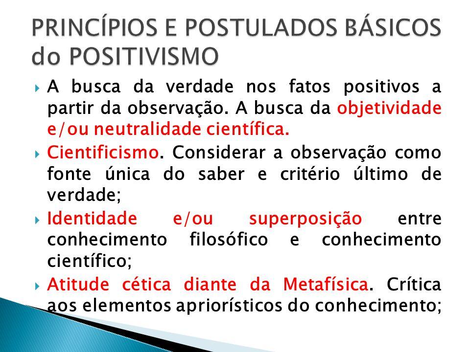 A busca da verdade nos fatos positivos a partir da observação. A busca da objetividade e/ou neutralidade científica. Cientificismo. Considerar a obser