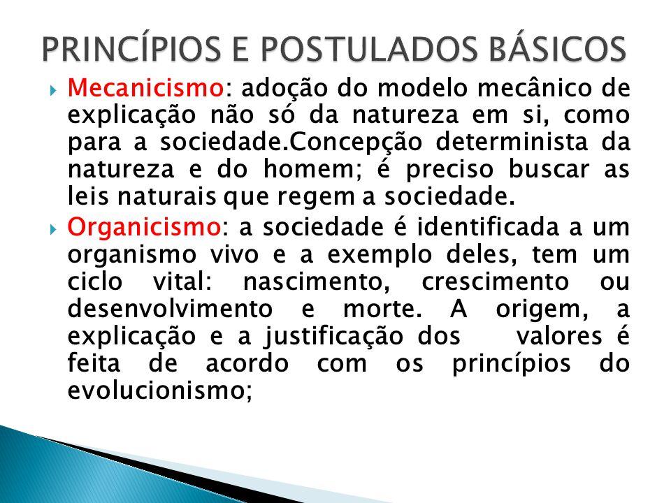 Mecanicismo: adoção do modelo mecânico de explicação não só da natureza em si, como para a sociedade.Concepção determinista da natureza e do homem; é
