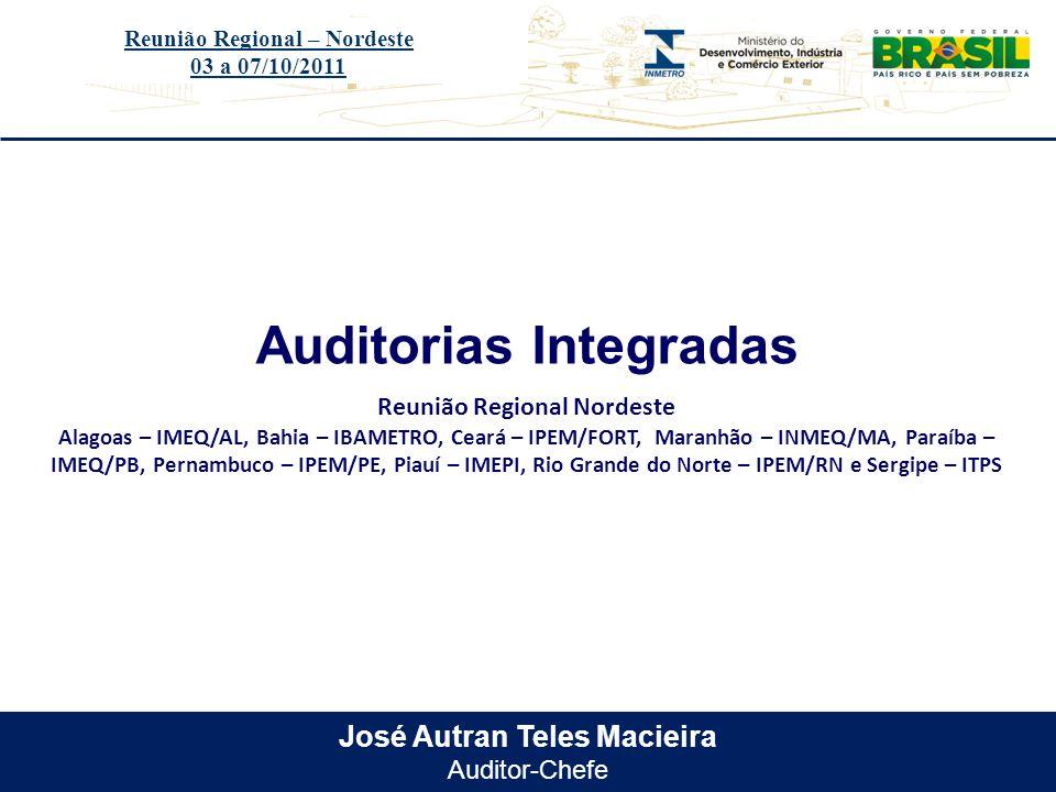 Título do evento José Autran Teles Macieira Auditor-Chefe Auditorias Integradas Reunião Regional – Nordeste 03 a 07/10/2011 Reunião Regional Nordeste