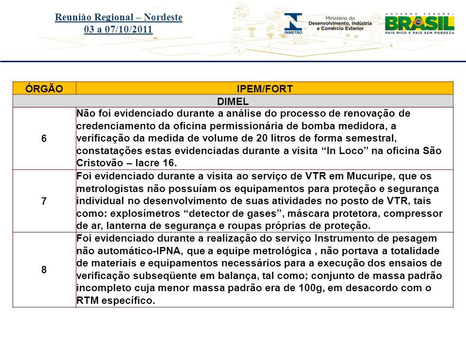 Título do evento Reunião Regional – Nordeste 03 a 07/10/2011 ÓRGÃOIPEM/FORT DIMEL 6 Não foi evidenciado durante a análise do processo de renovação de