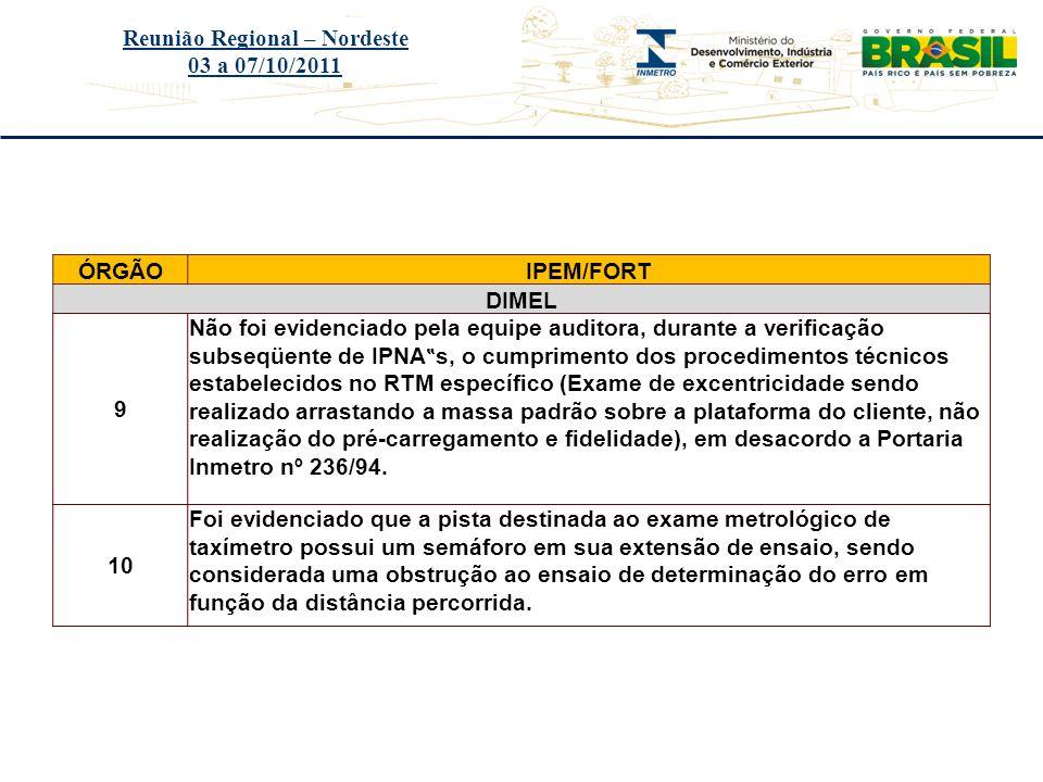 Título do evento Reunião Regional – Nordeste 03 a 07/10/2011 ÓRGÃOIPEM/FORT DIMEL 9 Não foi evidenciado pela equipe auditora, durante a verificação su