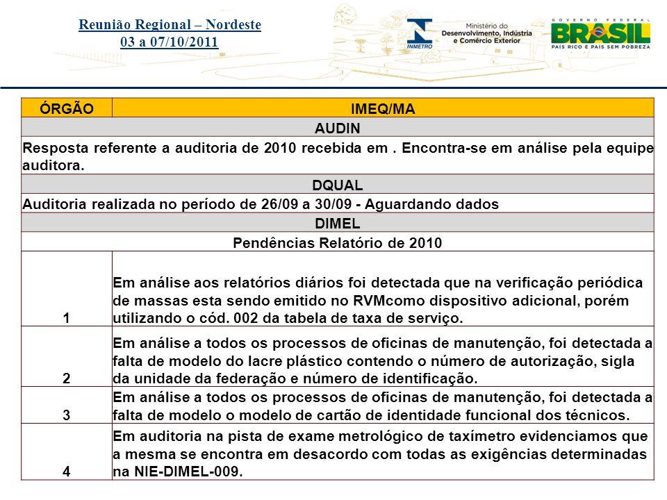Título do evento Reunião Regional – Nordeste 03 a 07/10/2011 ÓRGÃOIMEQ/MA AUDIN Resposta referente a auditoria de 2010 recebida em. Encontra-se em aná