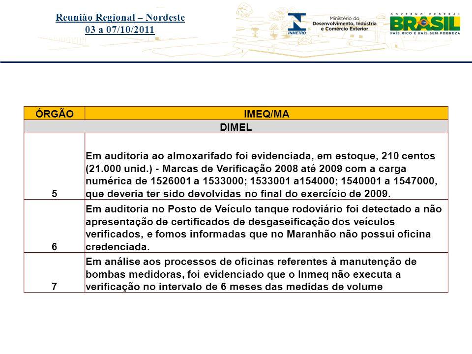 Título do evento Reunião Regional – Nordeste 03 a 07/10/2011 ÓRGÃOIMEQ/MA DIMEL 5 Em auditoria ao almoxarifado foi evidenciada, em estoque, 210 centos
