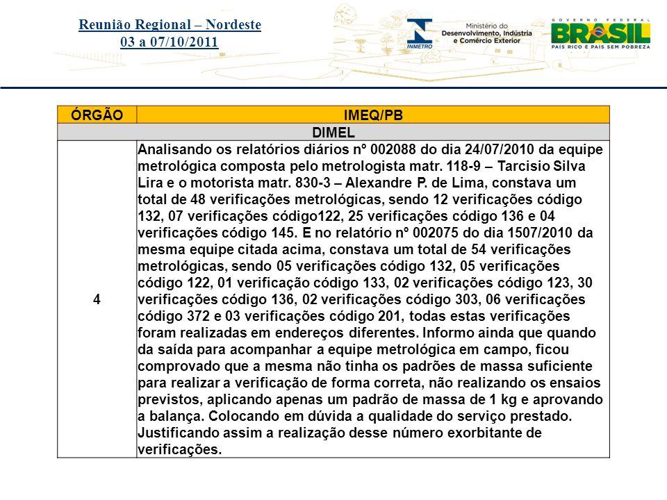 Título do evento Reunião Regional – Nordeste 03 a 07/10/2011 ÓRGÃOIMEQ/PB DIMEL 4 Analisando os relatórios diários nº 002088 do dia 24/07/2010 da equi
