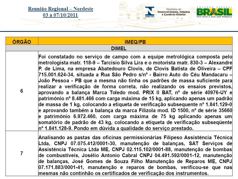 Título do evento Reunião Regional – Nordeste 03 a 07/10/2011 ÓRGÃOIMEQ/PB DIMEL 6 Foi constatado no serviço de campo com a equipe metrológica composta