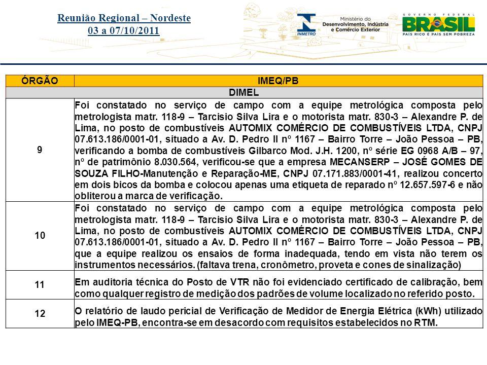 Título do evento Reunião Regional – Nordeste 03 a 07/10/2011 ÓRGÃOIMEQ/PB DIMEL 9 Foi constatado no serviço de campo com a equipe metrológica composta