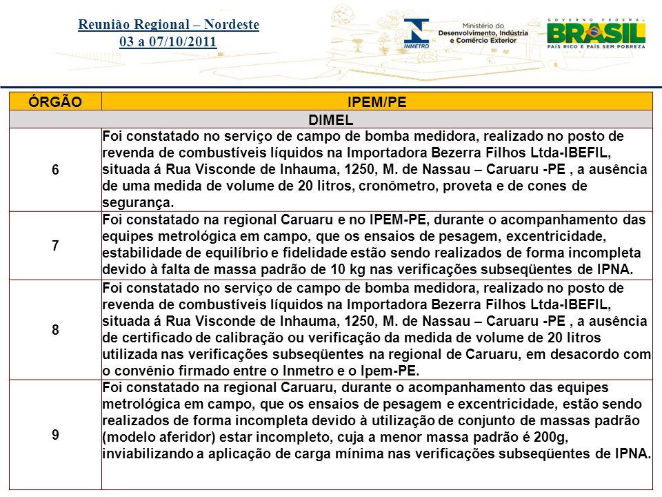 Título do evento Reunião Regional – Nordeste 03 a 07/10/2011 ÓRGÃOIPEM/PE DIMEL 6 Foi constatado no serviço de campo de bomba medidora, realizado no p