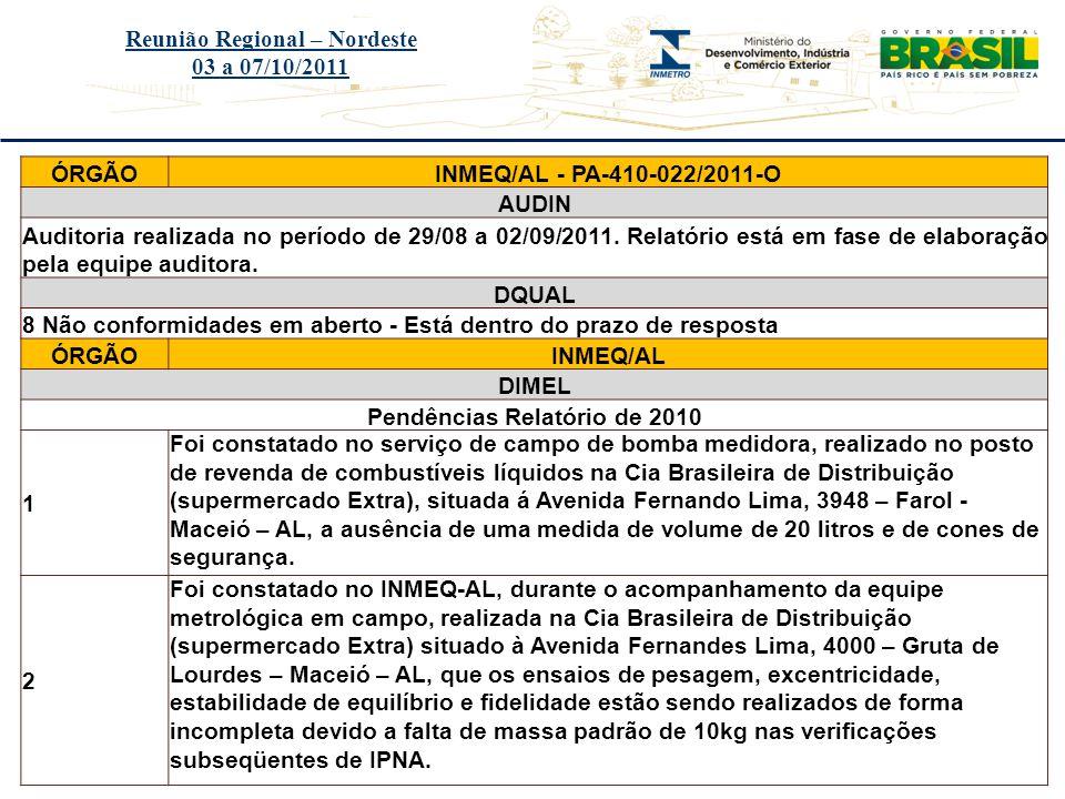 Título do evento Reunião Regional – Nordeste 03 a 07/10/2011 ÓRGÃOIPEM/PE - PA-900-009/2011-O AUDIN Auditoria realizada no período de 16 a 20/05/2011.