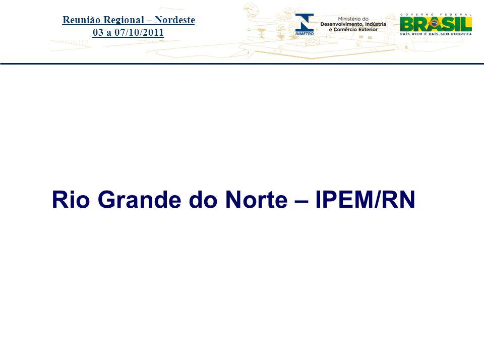 Título do evento Rio Grande do Norte – IPEM/RN Reunião Regional – Nordeste 03 a 07/10/2011