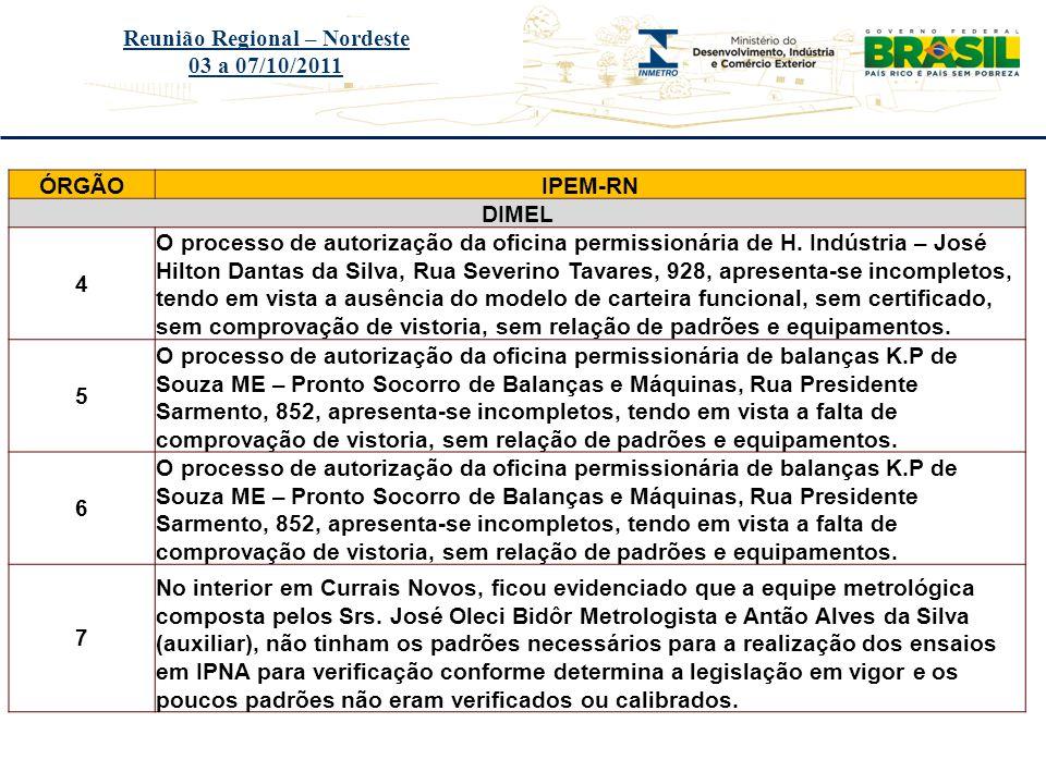Título do evento Reunião Regional – Nordeste 03 a 07/10/2011 ÓRGÃOIPEM-RN DIMEL 4 O processo de autorização da oficina permissionária de H. Indústria