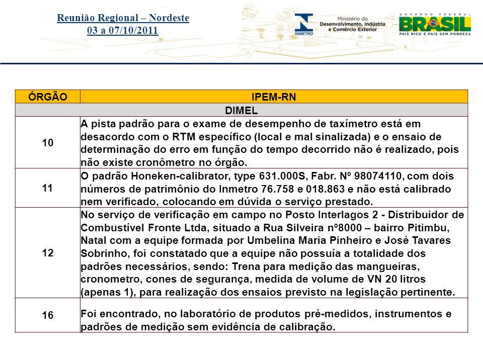Título do evento Reunião Regional – Nordeste 03 a 07/10/2011 ÓRGÃOIPEM-RN DIMEL 10 A pista padrão para o exame de desempenho de taxímetro está em desa