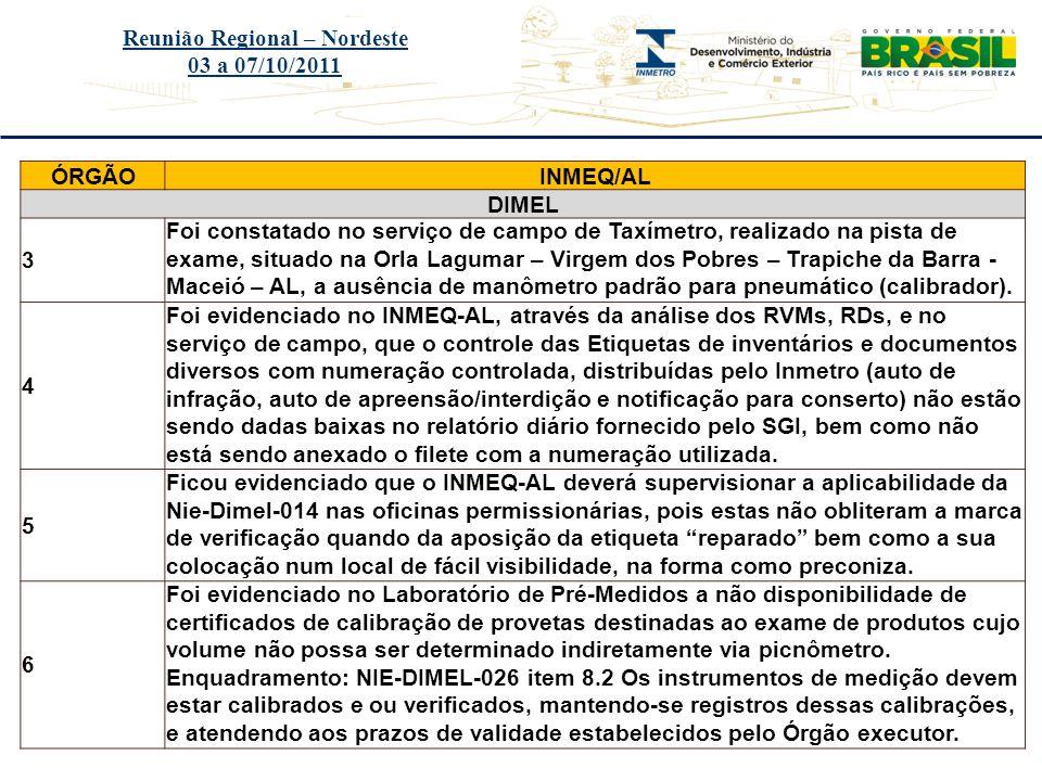 Título do evento Reunião Regional – Nordeste 03 a 07/10/2011 ÓRGÃOINMEQ/AL DIMEL 7 Foi evidenciado no Laboratório de Pré-Medidos a não disponibilidade de certificado de calibração da balança identificada sob número de patrimônio original 085071, ou seja, na etiqueta com código de barras.
