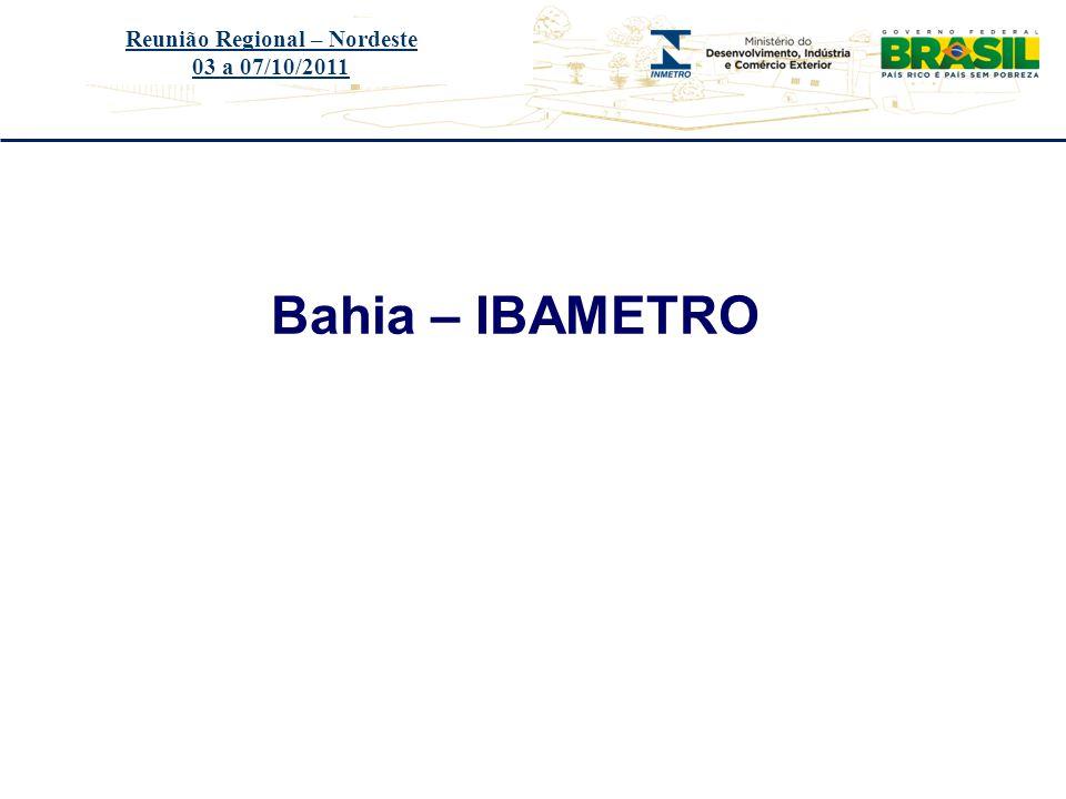 Título do evento Bahia – IBAMETRO Reunião Regional – Nordeste 03 a 07/10/2011