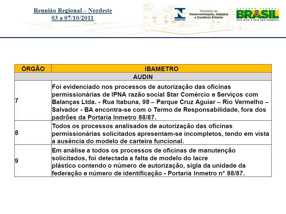 Título do evento Reunião Regional – Nordeste 03 a 07/10/2011 ÓRGÃOIBAMETRO AUDIN 7 Foi evidenciado nos processos de autorização das oficinas permissio