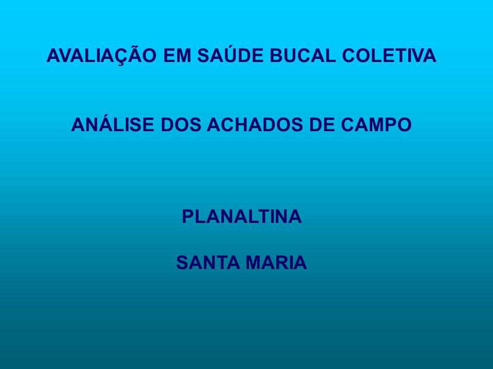 AVALIAÇÃO EM SAÚDE BUCAL COLETIVA ANÁLISE DOS ACHADOS DE CAMPO PLANALTINA SANTA MARIA