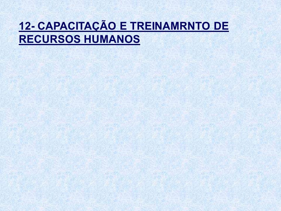 12- CAPACITAÇÃO E TREINAMRNTO DE RECURSOS HUMANOS