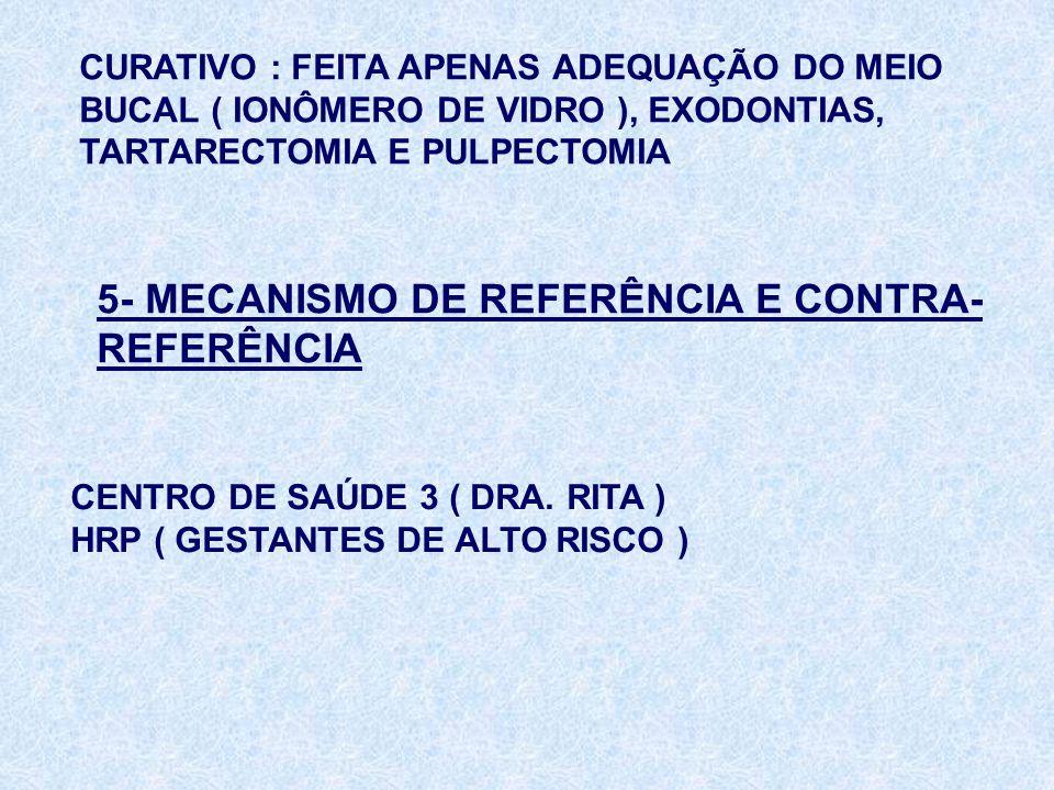 CURATIVO : FEITA APENAS ADEQUAÇÃO DO MEIO BUCAL ( IONÔMERO DE VIDRO ), EXODONTIAS, TARTARECTOMIA E PULPECTOMIA 5- MECANISMO DE REFERÊNCIA E CONTRA- RE