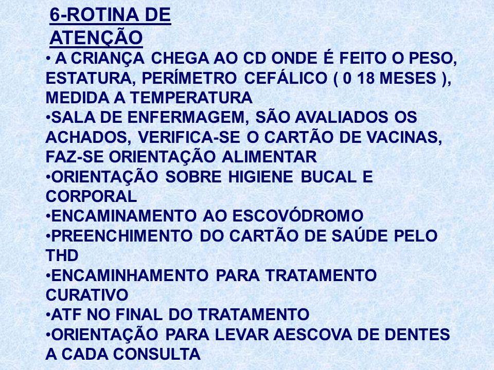6-ROTINA DE ATENÇÃO A CRIANÇA CHEGA AO CD ONDE É FEITO O PESO, ESTATURA, PERÍMETRO CEFÁLICO ( 0 18 MESES ), MEDIDA A TEMPERATURA SALA DE ENFERMAGEM, S