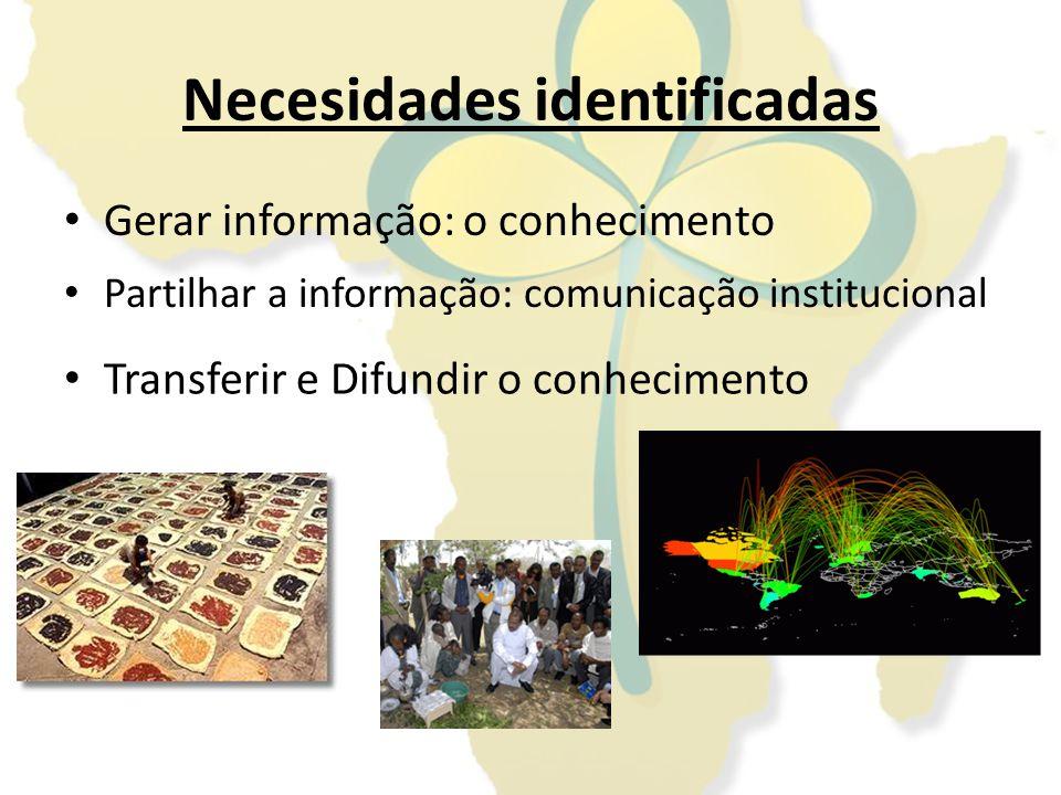 Necesidades identificadas Gerar informação: o conhecimento Partilhar a informação: comunicação institucional Transferir e Difundir o conhecimento