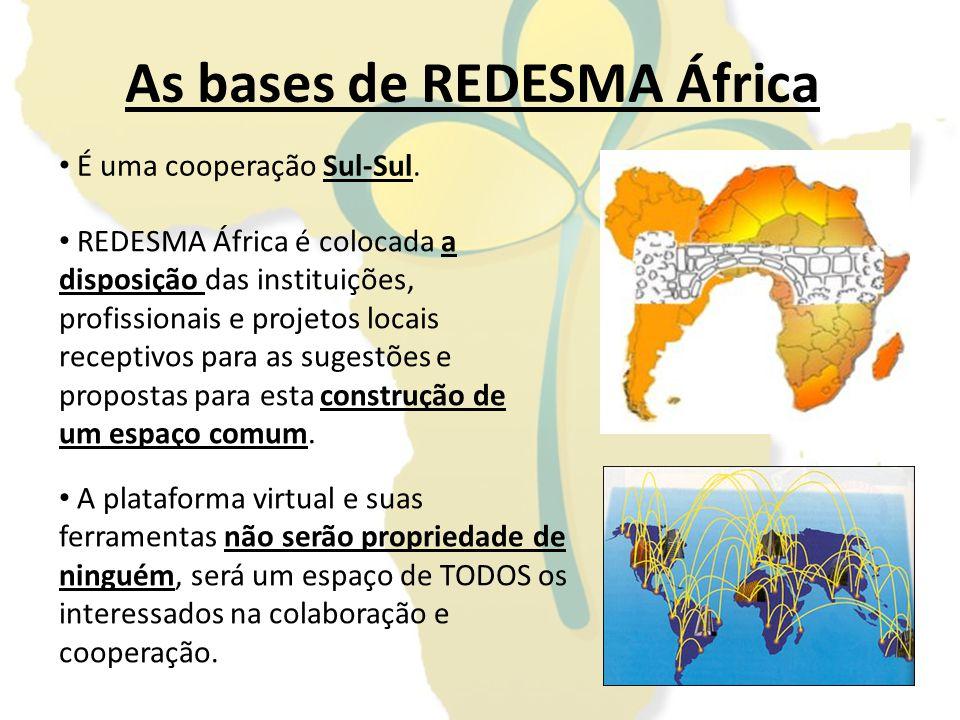 As bases de REDESMA África REDESMA África é colocada a disposição das instituições, profissionais e projetos locais receptivos para as sugestões e pro