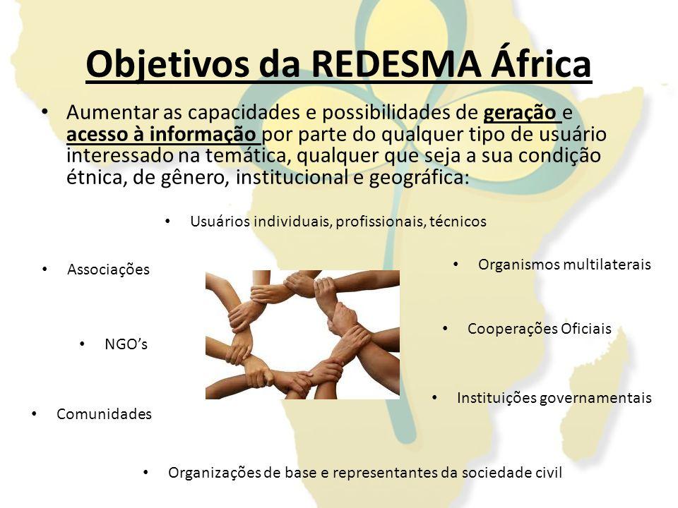 Objetivos da REDESMA África Aumentar as capacidades e possibilidades de geração e acesso à informação por parte do qualquer tipo de usuário interessad