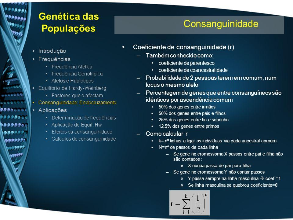 Genética das Populações Coeficiente de consanguinidade (r) –Também conhecido como: coeficiente de parentesco coeficiente de coancestralidade –Probabil